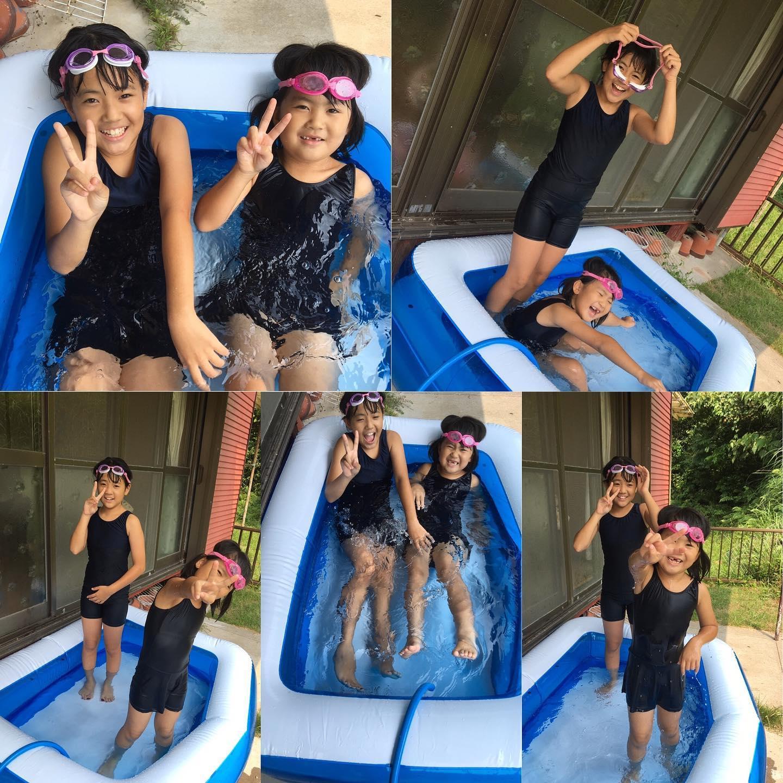 毎日暑いおうちプールヽ(´▽`)/2人とも大はしゃぎ良かった良かった#おうちプール#暑い夏#フレンチブルドッグ