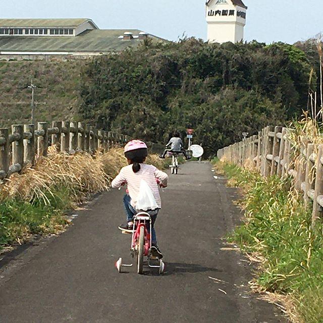 今日はお昼からサイクリング🚴♀️近くの物産館で自転車を借りてレッツゴー妹ちゃんはマイチャリで❣️片道4キロくらいかな娘ちゃんはスイスイ進むけど妹ちゃんはなかなか…でも最後まで頑張りましたお久しぶりの自転車…明日筋肉痛かも…#亀丸館スタート#帆之港ゴール#サイクリング#次回はお留守番すると妹ちゃん